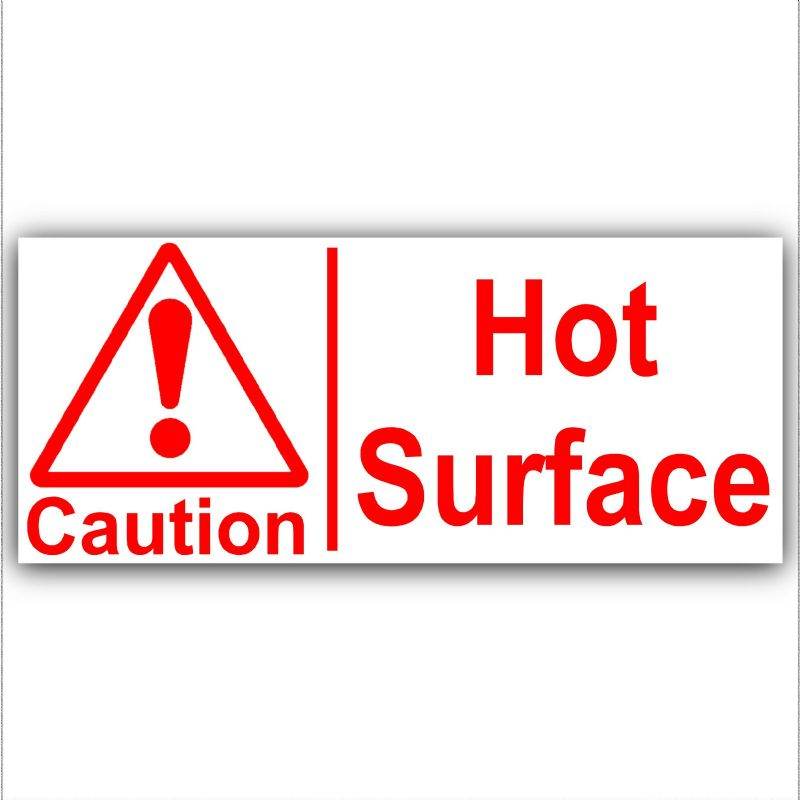 1 x Caution Hot Surface Sticker Red on White Sign Catering Cafe Restaurant Bar Pub Kitchen Safety